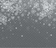 Nieve transparente brillante que cae Nieve de la Navidad con los copos de nieve ilustración del vector
