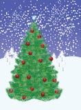 Nieve y árbol de navidad libre illustration