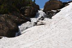 Nieve y cascada del Parque Nacional Glacier Imágenes de archivo libres de regalías