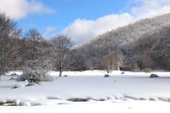Nieve y cielo azul con las nubes y el palillo Imagenes de archivo