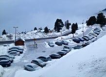 Nieve y coches foto de archivo libre de regalías