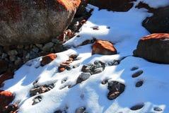 Nieve y piedras fotos de archivo
