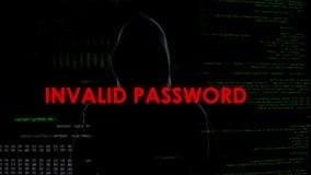 Nieważny hasło, niepomyślna próba pękać system, cyber przestępstwo, sieka obrazy royalty free