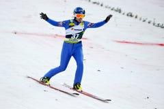 Niewiadoma narciarska bluza współzawodniczy obrazy royalty free