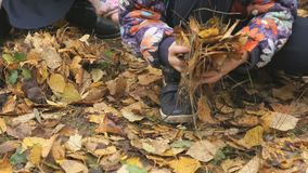 Niewiadomi małe dzieci w jesiennym parku zdjęcie wideo