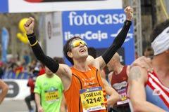 Niewiadomy biegacz w celu Fotografia Royalty Free