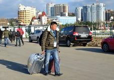 Niewiadomy dziennikarz od Kazachstan przyjeżdżał w Sochi zdjęcie royalty free