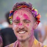 Niewiadomy facet jest uczestnikiem kulturalny Sziget w Budapest i festiwal muzyki, Węgry Obraz Royalty Free