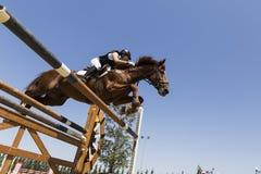 Niewiadomy jeździec na koniu podczas rywalizaci dopasowywa jeździeckiego round Zdjęcia Royalty Free