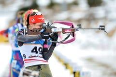Niewiadomy konkurent w IBU Youth&Junior mistrzostw Światowym Biathlon Obraz Stock