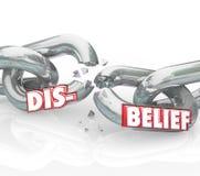 Niewiary słowa łamania łańcuchu wiary religii Przegrywająca wątpliwość ilustracji
