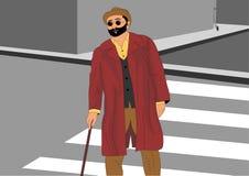 Niewidomy stary człowiek krzyżuje ulicznego, będący ubranym czerwoną kapeluszową kurtkę czarnych szkła i ilustracja wektor