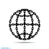 Niewolnictwo konturu kuli ziemskiej element W Modnym stylu Łańcuszkowa ikona w światowym podłączeniowym symbolu dla twój strona i ilustracji