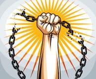 Niewolnictwo tematu ilustracja z silna ręka zaciskającym pięść bojem dla wolności przeciw łańcuchowi, wektorowemu logo lub tatuaż royalty ilustracja