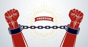 Niewolnictwo tematu ilustracja z silna ręka zaciskającym pięść bojem dla wolności przeciw łańcuchowi, wektorowemu logo lub tatuaż ilustracja wektor