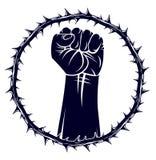 Niewolnictwo tematu ilustracja z silna ręka zaciskającym pięść bojem dla wolności przeciw tarninowemu cierniowi, wektorowemu logo royalty ilustracja