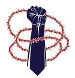 Niewolnictwo tematu ilustracja z silna ręka zaciskającym pięść bojem dla wolności przeciw tarninowemu cierniowi, wektorowemu logo ilustracja wektor
