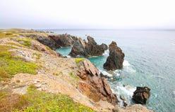Niewygładzony Dennego wybrzeża krajobraz Dungeon prowincjonału park Wodołaz, Kanada obraz stock
