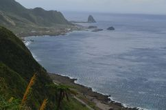 Niewygładzony krajobraz westernu wybrzeże Lanyu Storczykowa wyspa zdjęcia stock