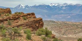 Niewygładzony Moab teren przegapia losu angeles Sal góry fotografia royalty free