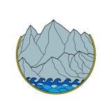 Niewygładzony pasmo górskie fala okrąg Monoline royalty ilustracja