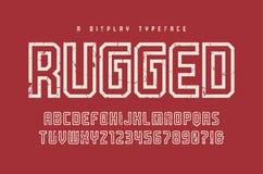 Niewygładzony wektorowego pokazu typeface, chrzcielnica, uppercase listy i drętwieje ilustracja wektor