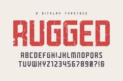 Niewygładzony wektorowego pokazu typeface, chrzcielnica, uppercase listy i drętwieje ilustracji