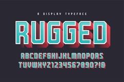 Niewygładzony wektorowy elegancki 3d pokazu typeface, chrzcielnica, uppercase lette ilustracja wektor