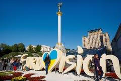 Niezależność zabytek w Kijowskim śródmieściu Fotografia Stock