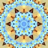 Niezapominajkowy abstrakt okrąża kalejdoskop dla karty lub sztandaru obraz royalty free