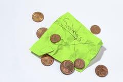 Niezdolny oprócz pieniądze, marszcząca notatka mówi oszczędzania i euro centy zdjęcie royalty free