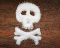 Niezdrowy pojęcie Biały cukier protestuje na brown tle Obraz Royalty Free