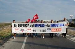 niezidentyfikowani demonstracja pracownicy Zdjęcia Stock