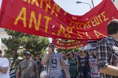 Niezidentyfikowani demonstranci w miasto ulicach Zdjęcia Royalty Free