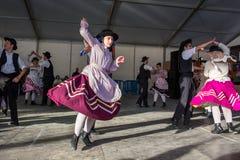 Niezidentyfikowani dzieci wykonują niezidentyfikowani dzieci wykonują Tradycyjną Portugalską ludoznawczą muzykę na scenie przy rz Fotografia Stock