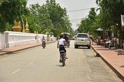 Niezidentyfikowani ludzie w Luang Prabang Obraz Royalty Free