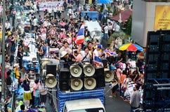 Niezidentyfikowani protestujący zbierają Patumwan skrzyżowanie anty rząd i pytają reformować przed wybory Obrazy Stock