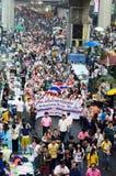 Niezidentyfikowani protestujący zbierają Patumwan skrzyżowanie anty rząd i pytają reformować przed wybory Obraz Stock
