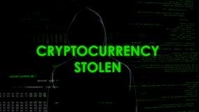 Niezidentyfikowany męski programista kraść cryptocurrency ochrony obrachunkową ochronę zdjęcie royalty free