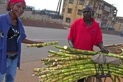 Niezidentyfikowany mężczyzna i kobieta sprzedajemy cukrową płochę Obrazy Royalty Free