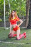 Niezidentyfikowany model z Spain kostiumową pozą dla promuje Worl Zdjęcie Stock