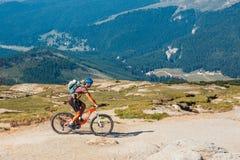 Niezidentyfikowany rowerzysta wspina się wzgórze w Bucegi górach w Rumunia Zdjęcia Royalty Free