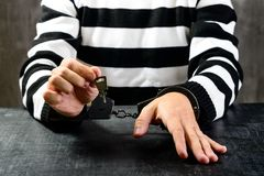 Niezidentyfikowany więzień w więzieniu obdzierał jednolitego obsiadanie na zdjęcie stock