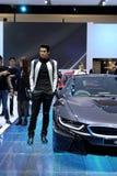 Niezidentyfikowany wzorcowy BMW serii I8 innowaci samochód Fotografia Royalty Free