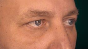 Niezmienny widok mężczyzna od zamkniętej odległości Samiec oczu spojrzenie przy to samo wskazuje Obracający portrate twarzy męski zbiory wideo