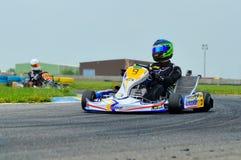 Nieznane pilotuje konkurowanie w obywatela Karting mistrzostwie 2015 Fotografia Stock