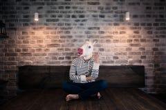 Niezwykły młody człowiek w komicznej masce siedzi samotnie na łóżku w eleganckim mieszkaniu fotografia royalty free