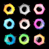 Niezwykłych abstrakcjonistycznych geometrycznych kształtów loga wektorowy set Kurenda, poligonalni kolorowi logotypy inkasowi na  ilustracja wektor