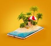 Niezwykła 3d ilustracja tropikalna wyspa z drzewkami palmowymi, deckchair i parasolem na smartphone ekranie, ilustracja wektor