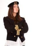 Niezwykle poważna dziewczyna z oficera mundurem Obrazy Royalty Free